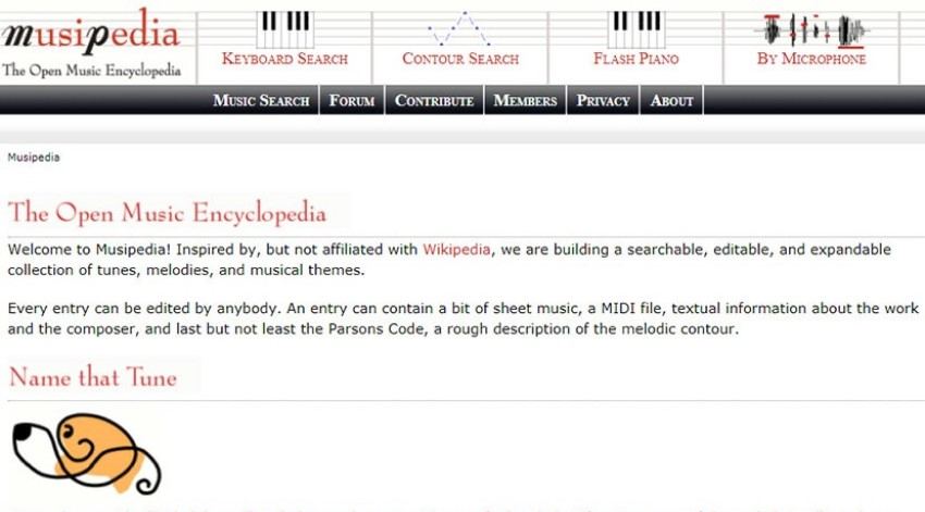 The main page of Musipedia website